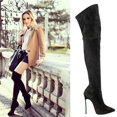 Aliexpress.com : Buy Women Sexy black suede over knee thigh high ...