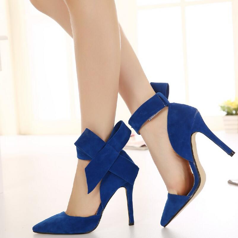 Plus Size Shoes Women Big Bow Tie Pumps 2017 Butterfly Pointed Stiletto Shoes Woman High Heels Wedding Shoes Bowknot advisable 10