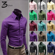 S-XXXL 2017 stylish men fall slim high-grade cotton long sleeve shirt/Male leisure joker pure color business shirt