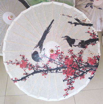 Dia 84cm magpies report good news on red plum blossom painting waterproof and sunshade dance props oiled paper umbrella