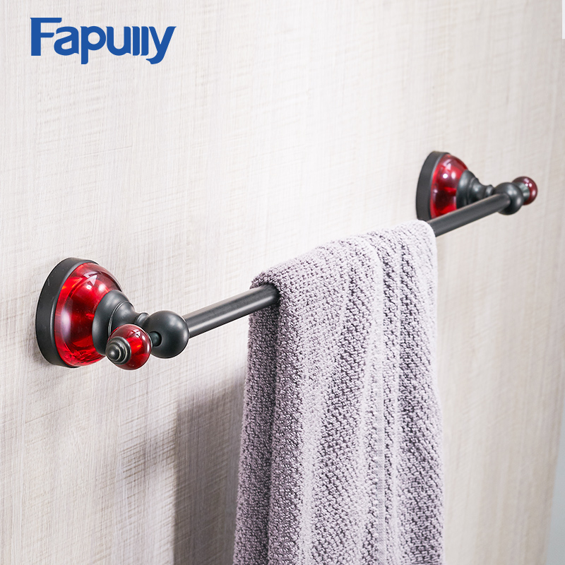 Fapully Towel Holder Wall Mounted Black Single Towel Bar Towel Rack Space Aluminum Bathroom Accessories aluminum wall mounted square antique brass bath towel rack active bathroom towel holder double towel shelf bathroom accessories