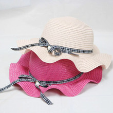 2019 New Pearl Sunhats for Women Summer Beach CAPS Baby Girls Sun Visor Cap Wave Brim Straw HAT Parent-child Sun Hats Kids catalog sun wave