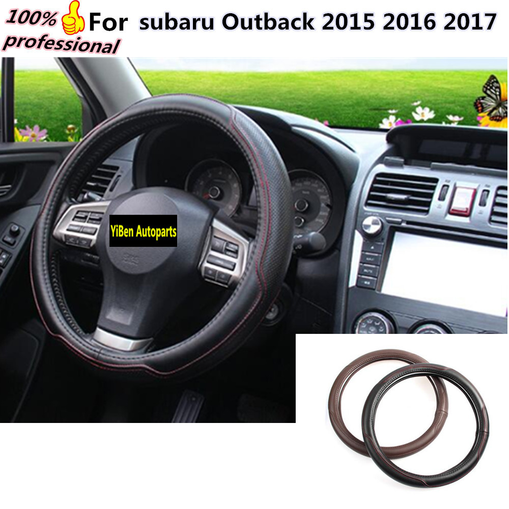 Car Steering Wheel Cover Auto Car Stitch On Wrap WIth Needles&Thread 2 Colors DIY Leather For subaru Outback 2015 2016 2017