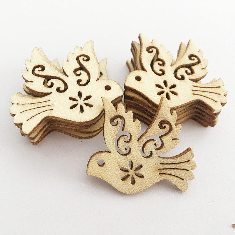 50 Pcs Peace Dove Wood Chips Animal Wood Crafts Scrapbook DIY Book Corner Flower Lace Pattern Wooden Ornaments Handmade Album