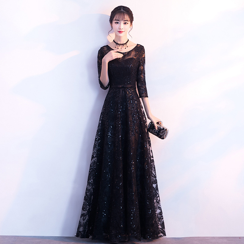New Black Floor Length Elegant Cheongsam Sexy Half Sleeve Dress 2019 Spring Slim Vestido Bead Satin