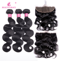 Beauty Grace Hair Brazilian Body Wave Human Hair Weave 3 Bundles With Frontal Non Remy Lace