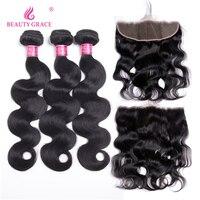 Beauty Grace Hair Brazilian Body Wave Natural Color Non Remy Human Hair Weave 3 Bundles Lace