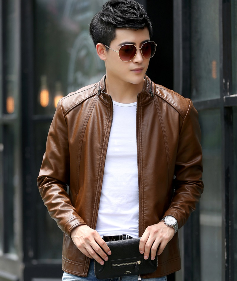 Russia and Brazil style Casual Mens Leather Jackets Stand Collar Leather Jackets Men Clothing Soft Sheepskin Leather Garment