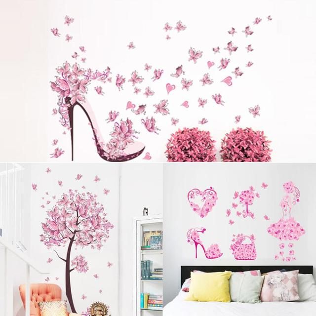 New Butterfly Flower Fairy Stickers Bedroom Living Room Walls pink ...