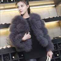 ETHEL ANDERSON Women's 100% Real Farm Fluffy Ostrich Turkey Feather Fur Coat Lady Winter Jacket Soft Warmer 3/4 Sleeves Fall