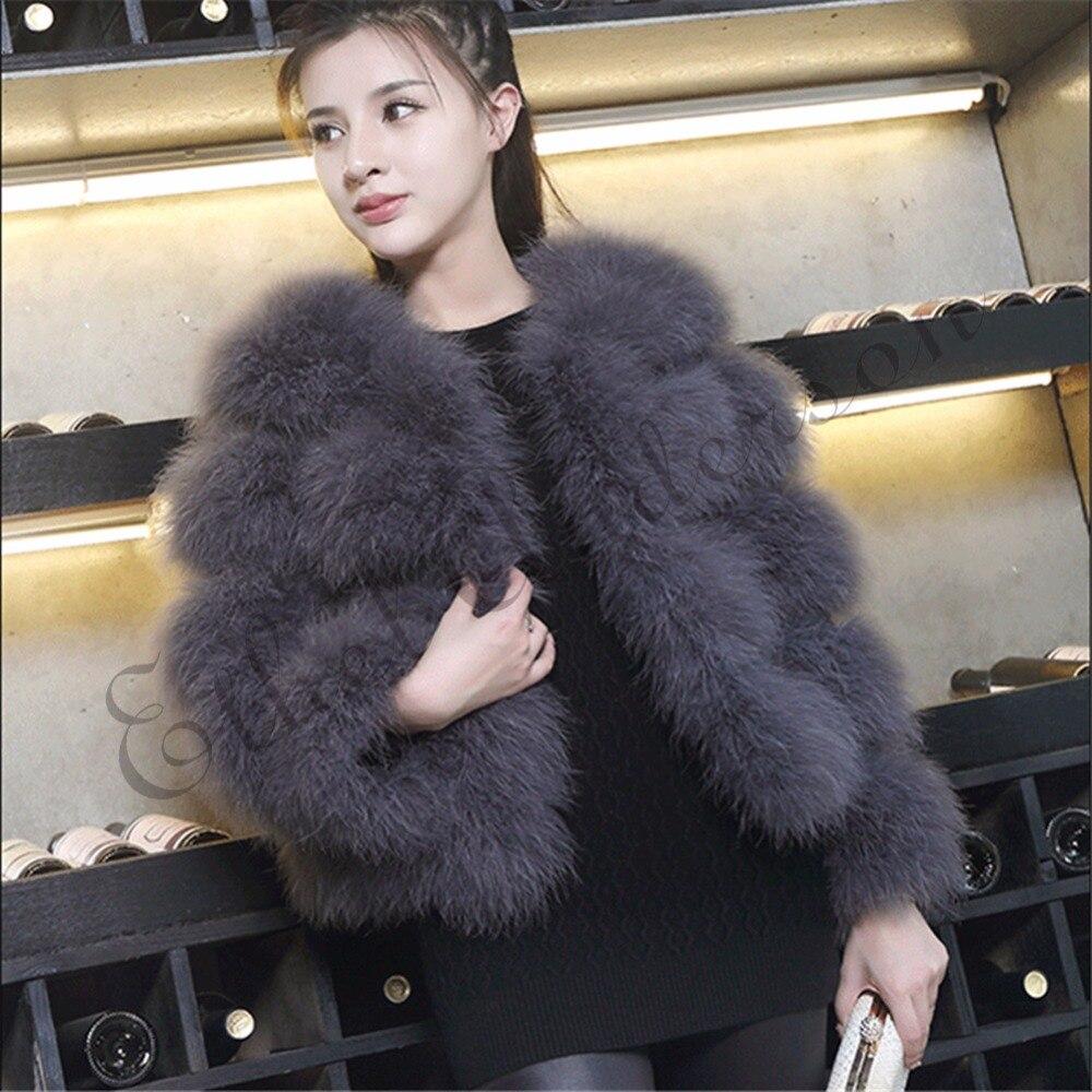 ETHEL ANDERSON femmes 100% réel ferme moelleux autruche dinde plume manteau de fourrure dame hiver veste doux plus chaud 3/4 manches automne