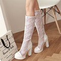 Big Size 34-43 Knee High Women Summer Boots Sexy Fashion Pumps Ladies White Black Gladiator Boots  Shoes Heels Boots For Women
