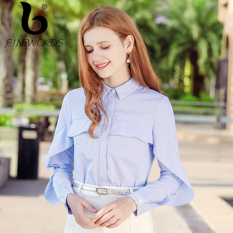 FINEWORDS 2018 Spring blusas Vintage Korean Striped Blouse Women Elegant Ruffles Causal Harajuku Tops Business Plus Size Shirt