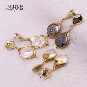 Image 3 - 5 пар серьги из пресноводного жемчуга Серьги из жемчуга оптовая продажа ювелирных изделий Модные ювелирные изделия для женщин подарок 9204
