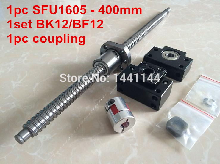 1pcs antibacklash ball screw 1605 - 400mm end machined -C7+ BK/BF12  Support + 1pcs 6.35*10mm coupler