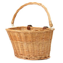 35x26x22cm Wicker Bicycle Basket with Brown Straps Strong Lightweight Cycling Basket Ideal for Transporting Shopping