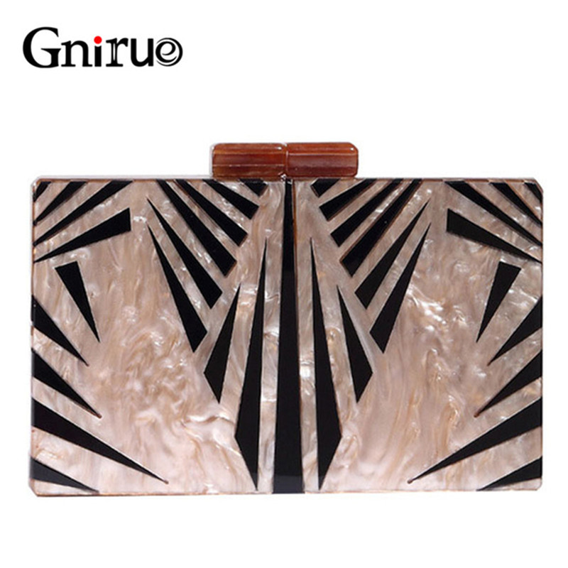 Fashion Brand Geometry Splice Print Acrylic Evening Clutch Bag Luxury Women Messenger Day Clutches Bags Elegant Handbags Purses luxury brand design basket bucket tote women day clutches and purses 2pcs composite bag lady handbags rivet women messenger bag