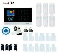SmartYIBA WIFI APP Control Autodial Home Security Alarm System Burglar Alarm Infared Motion Sensor Blue Flash Siren Alarm Kits