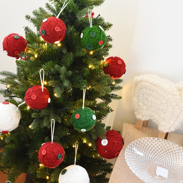 christmas tree ornaments creative wool ball christmas ball diy window ornaments accessories shop - Christmas Tree Accessories