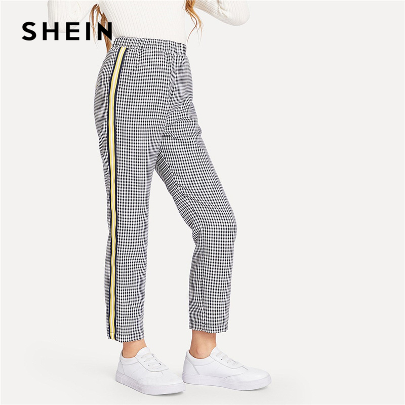 SHEIN Kiddie Striped Tape Side Gingham Casual Pants For Girls 2019 Spring Elastic Waist Straight Leg Trousers Girl Kids Clothes girls contrast tape pants