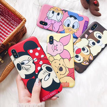 JAMULAR Cartoon Mickey Minnie Mouse Case For iPhone 6 6s 8 X 7 Plus XR XS MAX Cover For iPhone 7 Plus Piglet Soft TPU Fundas(China)