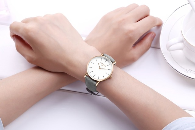 CHRONOS Women Simple Causal Quartz Watch Fashion Red Brown Leather Rose Gold Watches White Face Dress Watch without Second Hand