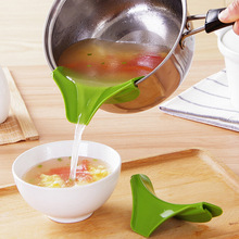 1PC Anti-spill Silicone Slip On Pour Soup Spout Funnel for Pots Pans and Bowls Jars Kitchen Gadget Tool OK 0258