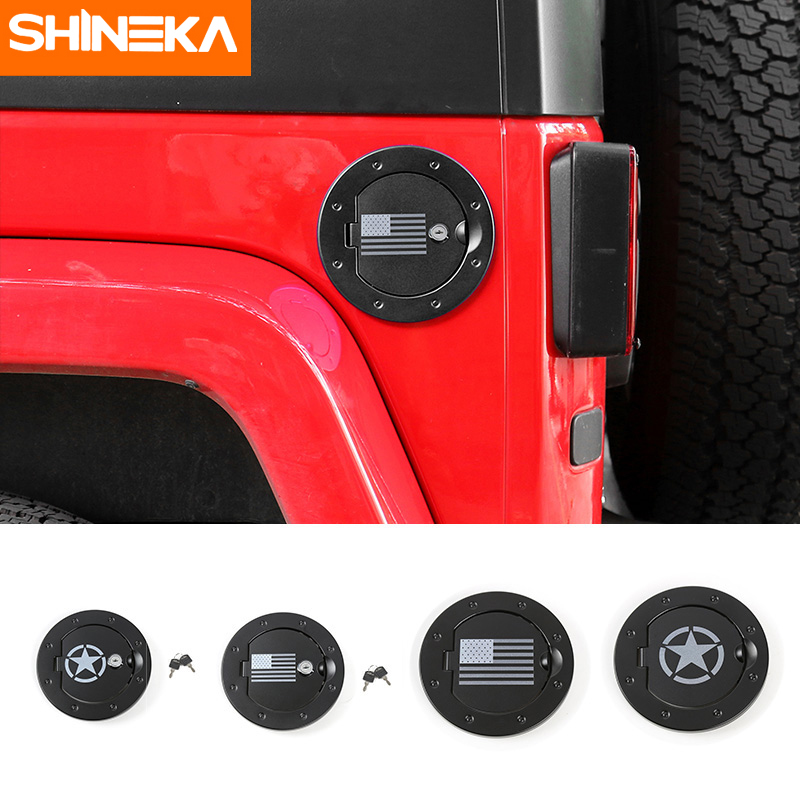 SHINEKA Car Styling Aluminium Alloy USA Flag Star Fuel Tank Cap Gas Tank Cover with Key for Jeep Wrangler JK 2007+