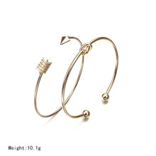 NS54 2PCSVintage Gold Color Tie Knot Bracelet Bangles Simple Twist Cuff Open Bangles For Women Indian Jewelry Costume Jewellery(China)