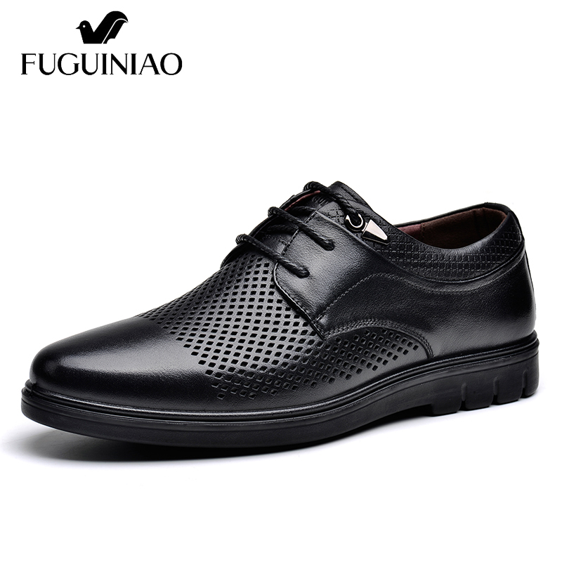 Summer Breathable flat Shoes Free shipping FUGUINIAO Genuine Leather Men s casual Shoes color black brown