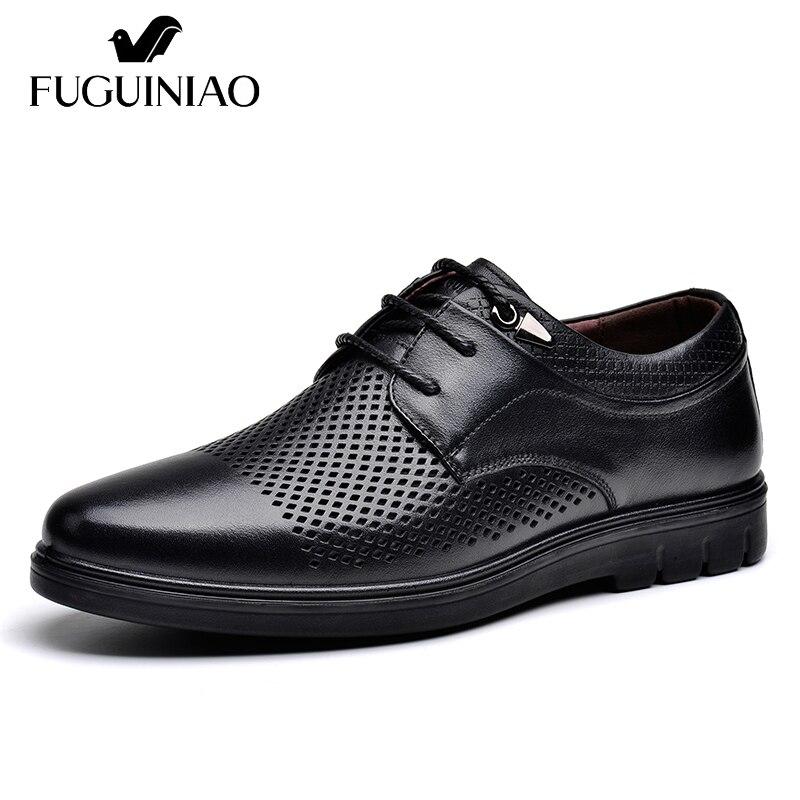 Ayakk.'ten Erkek Rahat Ayakkabılar'de Yaz Nefes düz ayakkabı! Ücretsiz kargo! FUGUINIAO Hakiki Deri gündelik erkek ayakkabısı/renk siyah, kahverengi/boyutu 38 44'da  Grup 1