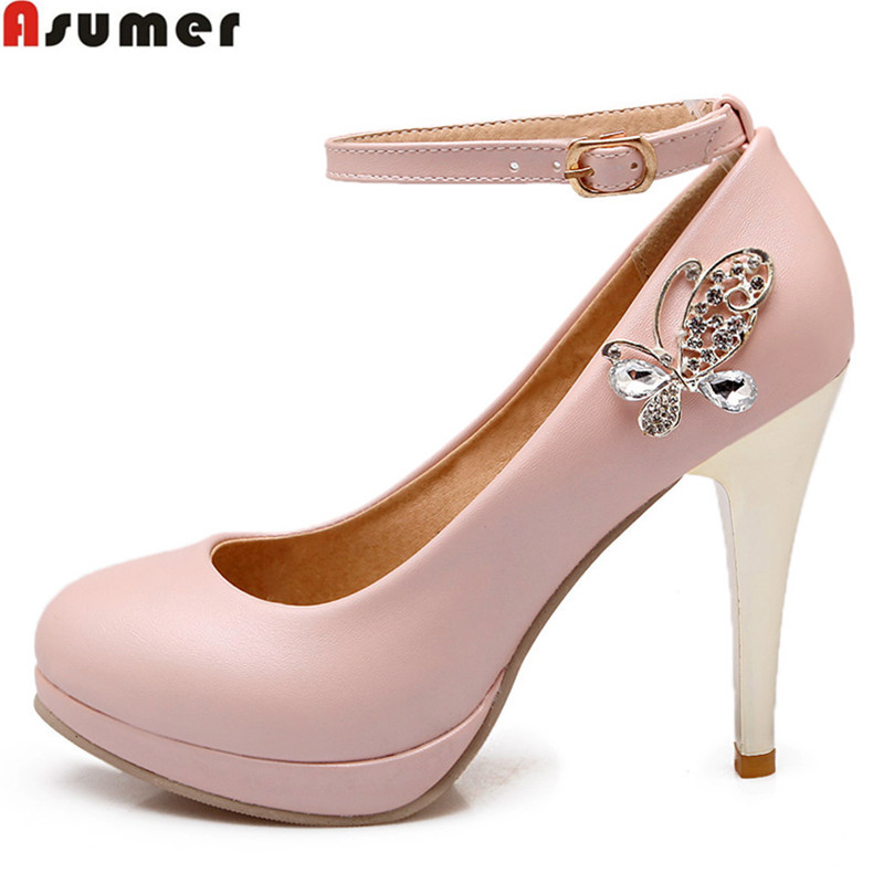 Asumer plus size 34-43 new fashion ankle strap women pumps stiletto high heels wedding shoes large size platform ladies shoes asumer plus size 34 43 new fashion sexy 13 5cm ultra high heels women pumps round toe gold glitter platform wedding shoes woman
