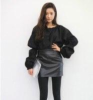 Super Korean Fashion Joint High Waist Hip Sheepskin Leather Skirt Women Slim Gothic Mini PU Skirts