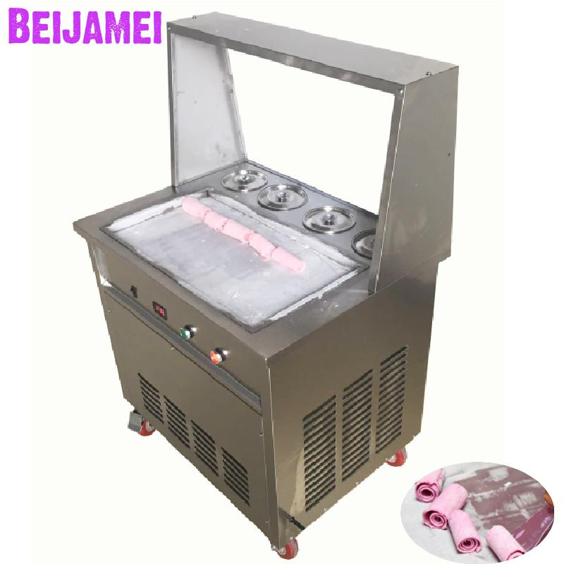 BEIJAMEI Commercial Thailand fried ice cream maker big square pan yogurt ice rolls making machine with four barrelBEIJAMEI Commercial Thailand fried ice cream maker big square pan yogurt ice rolls making machine with four barrel