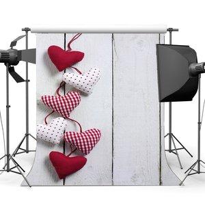 Image 1 - عيد الحب خلفية خلفيات للتصوير الفوتوغرافي الحلو سلسلة قلوب الأبيض المشارب الخشب الطابق الزفاف خلفية