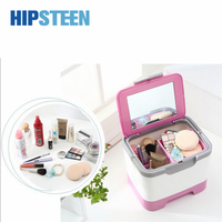 HIPSTEEN Fashion Makeup Organizer Assorted Colors Hand-held Cosmetics Case Household Plastic Storage Box with Mirror Organizador