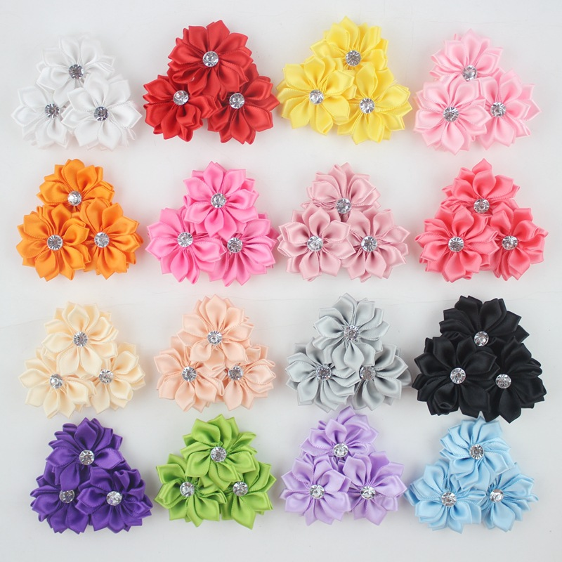 Soft Matte Satin Silk Flowers For Baby Hair Accessories Artificial Rosette Fabric Flowers with Acrylic stone For Headbands