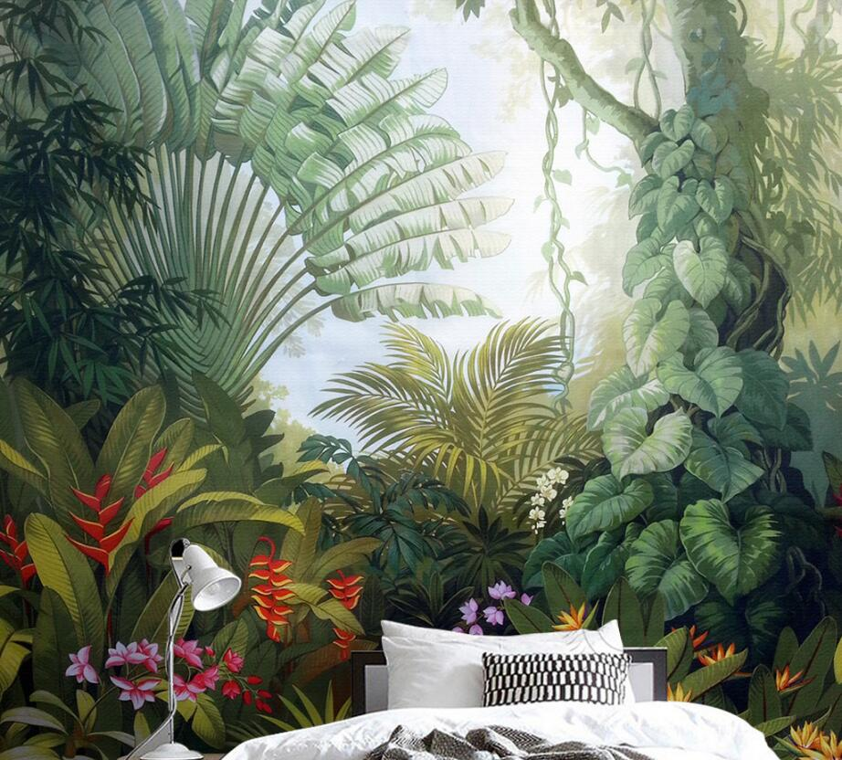 Beibehang Custom Wallpaper Home Decor Mural Medieval Hand Drawn Tropical Rain Forest Landscape Tv Background Wall 3d Wallpaper