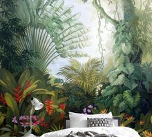 Beibehang Custom wallpaper home decor mural Medieval hand drawn tropical rain forest landscape tv background wall 3d