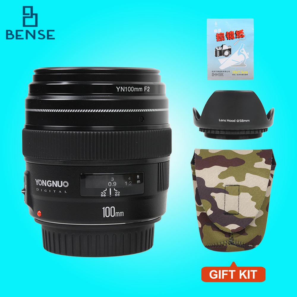 Prix pour NOUVEAU Yongnuo YN100mm F2 Moyen Téléobjectif Premier Objectif pour Canon EOS Rebel caméra AF MF 5D 5D IV 1300D T6 760D 750D 1D 5D R