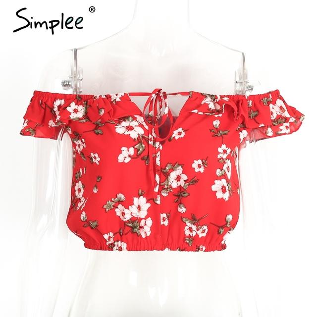 Simplee Red print ruffles chiffon blouse shirt women tops Boho off shoulder short sleeve crop top Summer beach blouse tube blusa
