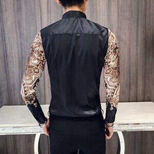 Image 3 - فاخر الملكي قميص الرجال عادية سليم تيشيرت ضيق بأكمام طويلة الرجال بيزلي طباعة قميص Camisa الاجتماعية الذكور مانغا لونجا حفلة موسيقية قميص