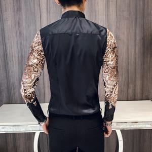 Image 3 - Luxury Royal Shirt Men Casual Slim Fit Long Sleeve Men Paisley Print Shirt Camisa Social Masculina Manga Longa Prom Party Shirt