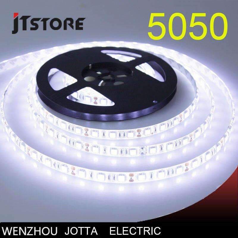 Tira CONDUZIDA 5050 DC12V 60 LEDs/m 5 m/lote Flexível LEVOU Luz de Tira Para Casa Decoração Da Lâmpada Lâmpada Do Carro