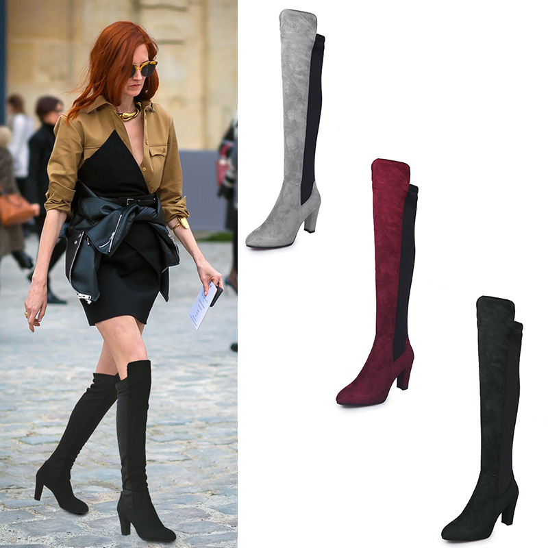 3aff7ee1f59 Thigh High Boots Female Winter Boots Women Over The Knee Flat ...