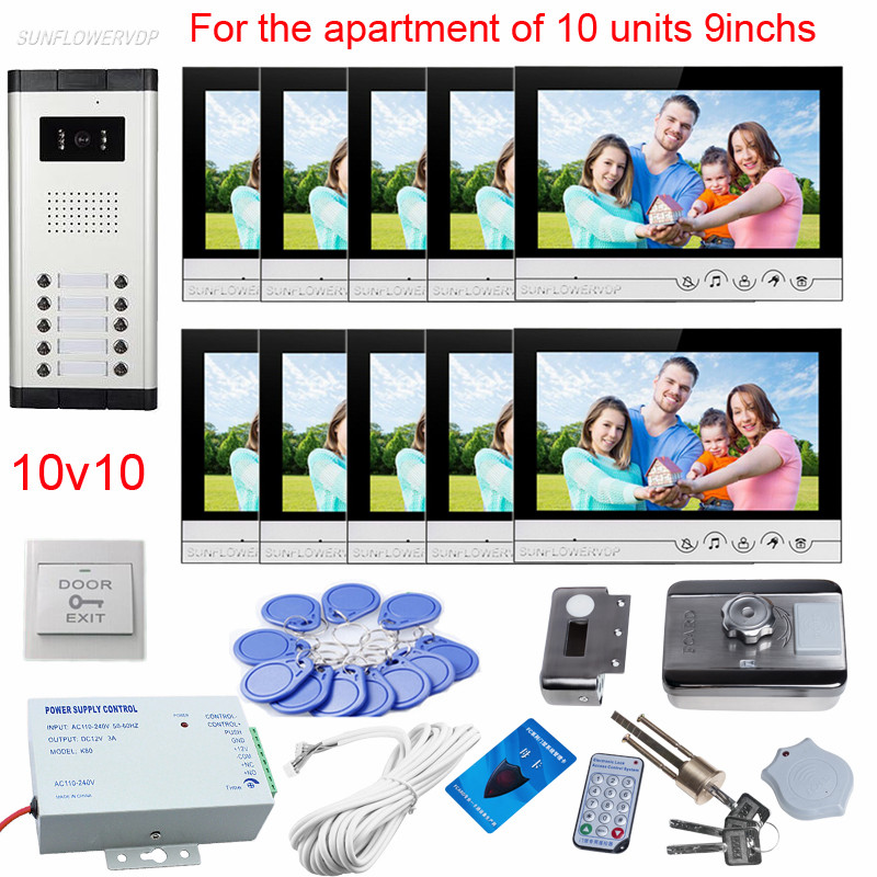 10 Apartments Video Call 9 Color Monitors 10 Buttons Doorbell With Camera Video Doorphone With Rfid Card Electronic Door Lock