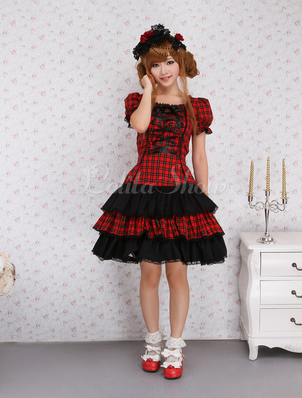 Free Shipping Lace Square Neck Short Sleeves Cotton Sweet Lolita One-Piece Dress Cosplay Costume