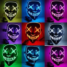 Halloween LED Light Up Mask Many Options Party Cosplay Masks The Purge Election Year Funny Glow In Dark Or Horror