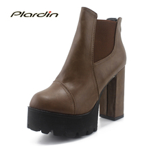 2016 Sexy Ultra Hauts Talons Chaussures Femme Martin Bottes Femme Bout rond Martin Bottes 9 75cmthick Talon Plate-Forme Des Femmes Chaussures Cheville bottes