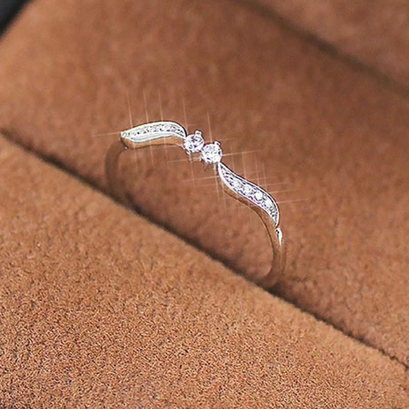 Simple Cubic Zirconia Thin Rings For Woman Elegant Sliver Color Bridal Wedding Party Finger Vintage Leaf Shape Jewelry Girl